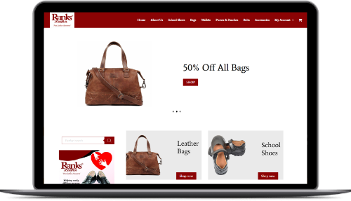 ranks leather website design  Pages